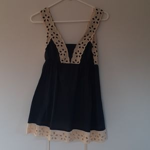 navy blue tunic style top floral lace trim w/tie